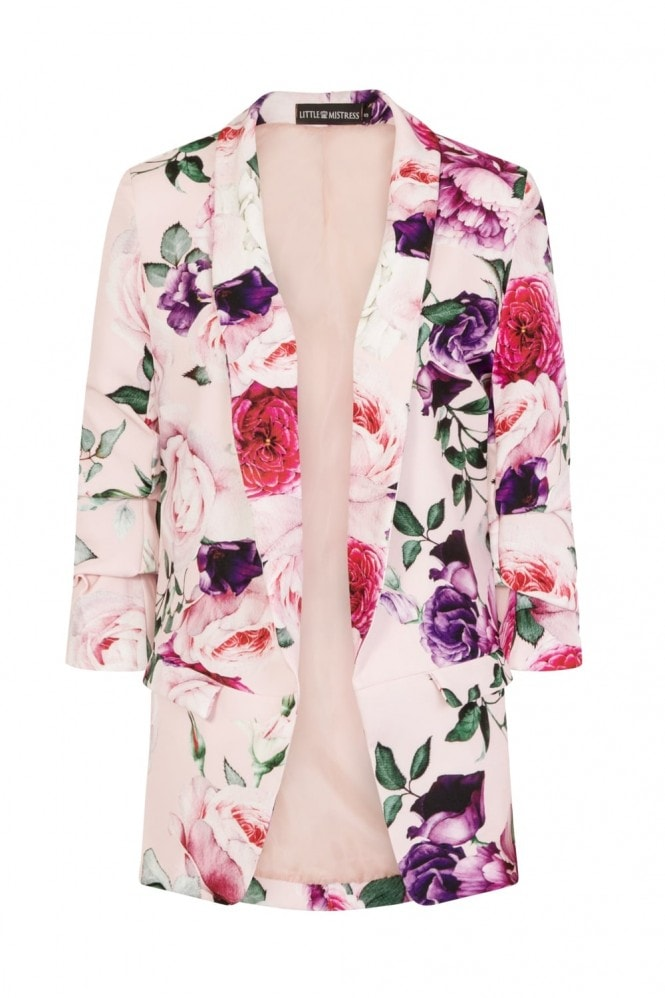 Little Mistress Blush Print Floral Blazer