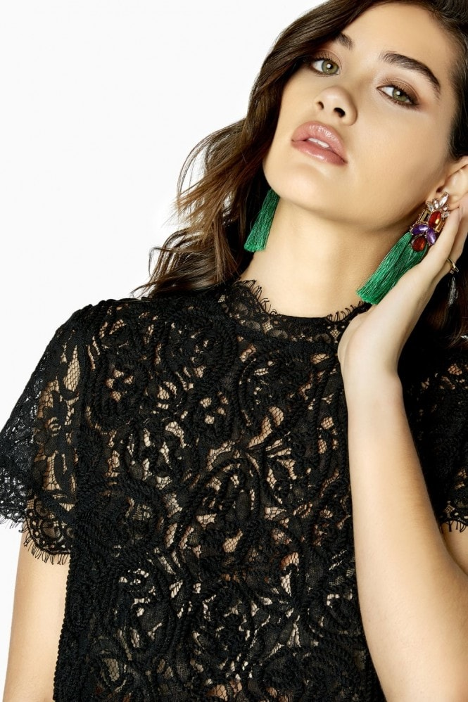 Outrageous Fortune Black Lace Top