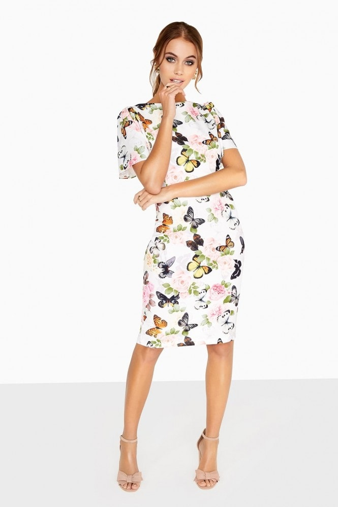 Outlet Paper Dolls Print Fluted Dress
