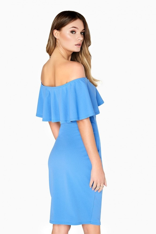 Outlet Girls On Film Blue Ruffle Bodycon Dress