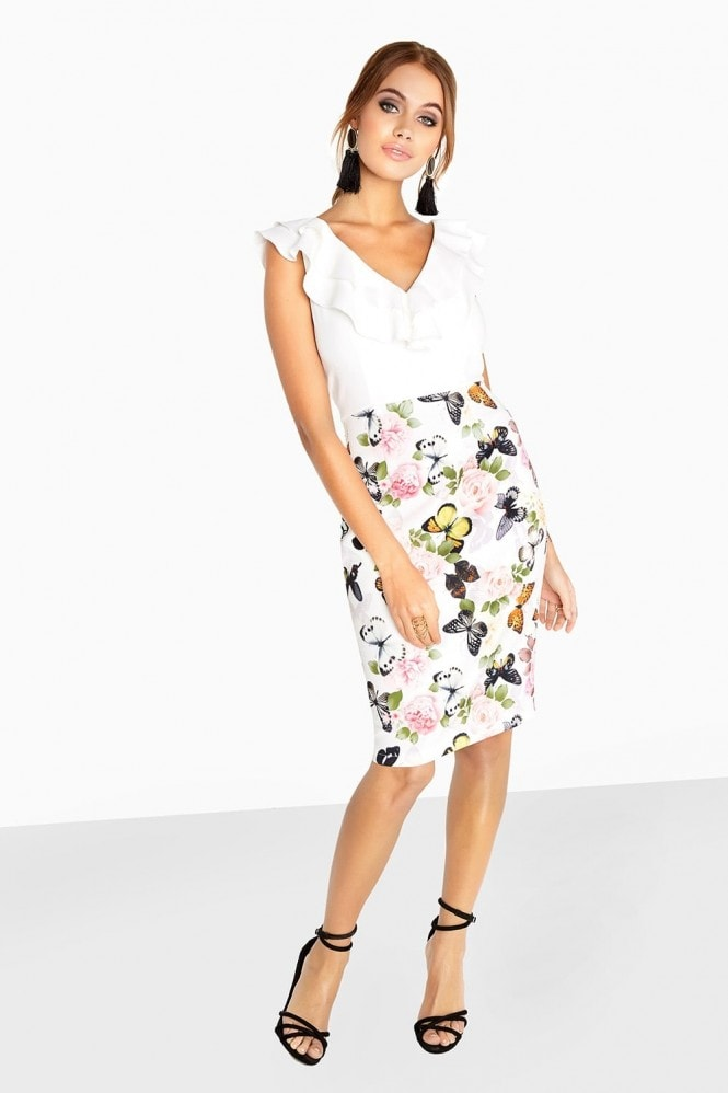 Paper Dolls Etienne Frill Front Dress In Butterfly Print