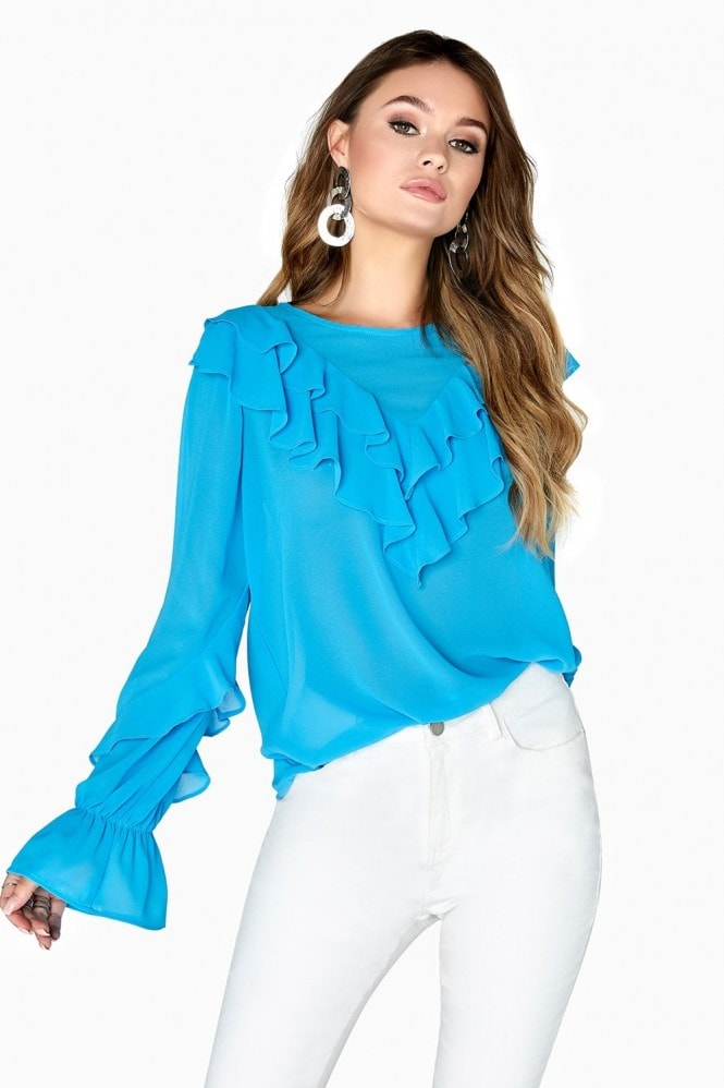 Outlet Girls On Film Nicki Frill Front Blouse