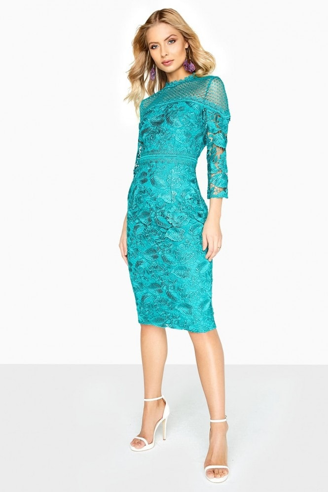 Ella Guipure Lace Pencil Dress With Stand Collar From