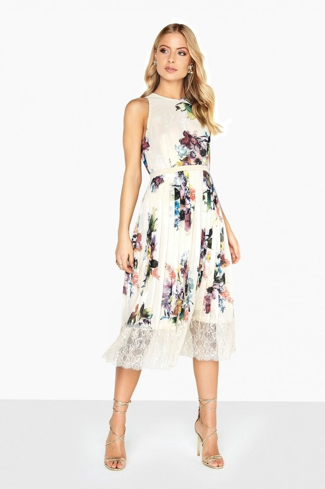 Little Mistress Ava Floral Lace Hem Midi Dress
