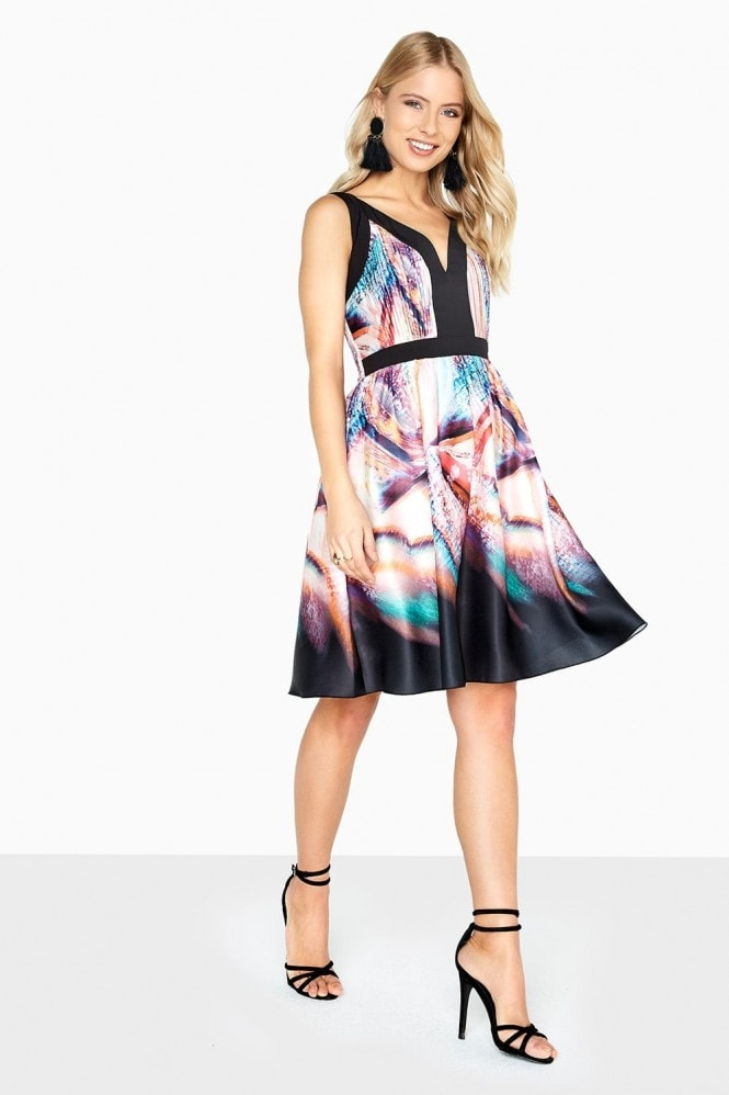 Little Mistress Olivia Kaleidoscope Print Prom Dress