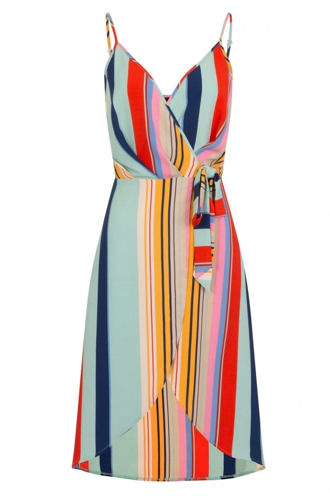 Girls on Film Kelson Cami Wrap Dress In Candy Stripe