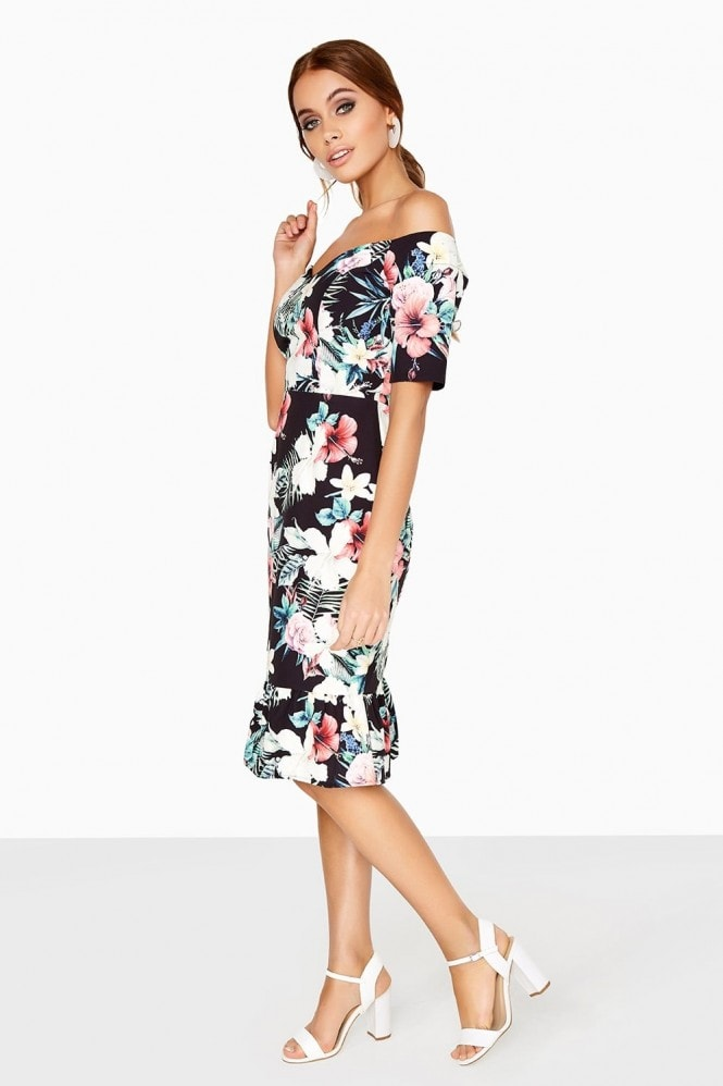 Paper Dolls Metz Tropical-Print Peplum Dress