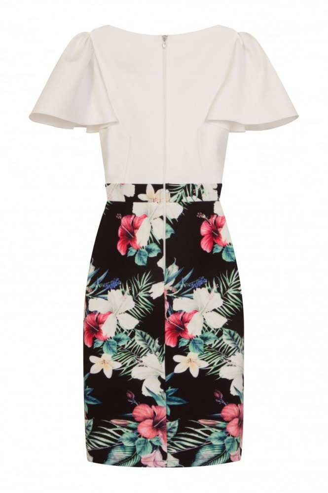 Paper Dolls Rouen Pencil Dress In Tropical Print