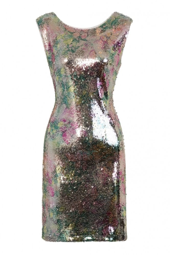 Girls on Film Aion Metallic Sequin Low Cut Back Dress