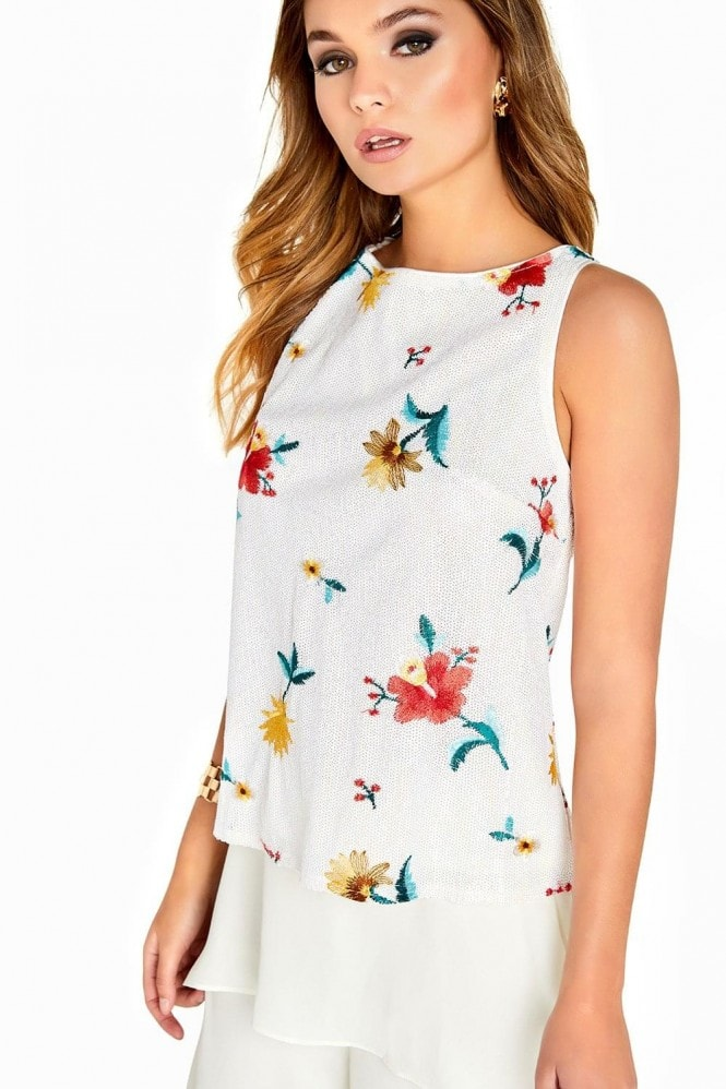 Girls on Film White Sequin Print Top