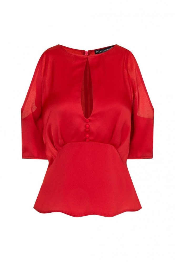 Little Mistress Charlotte Satin Cold Shoulder Blouse