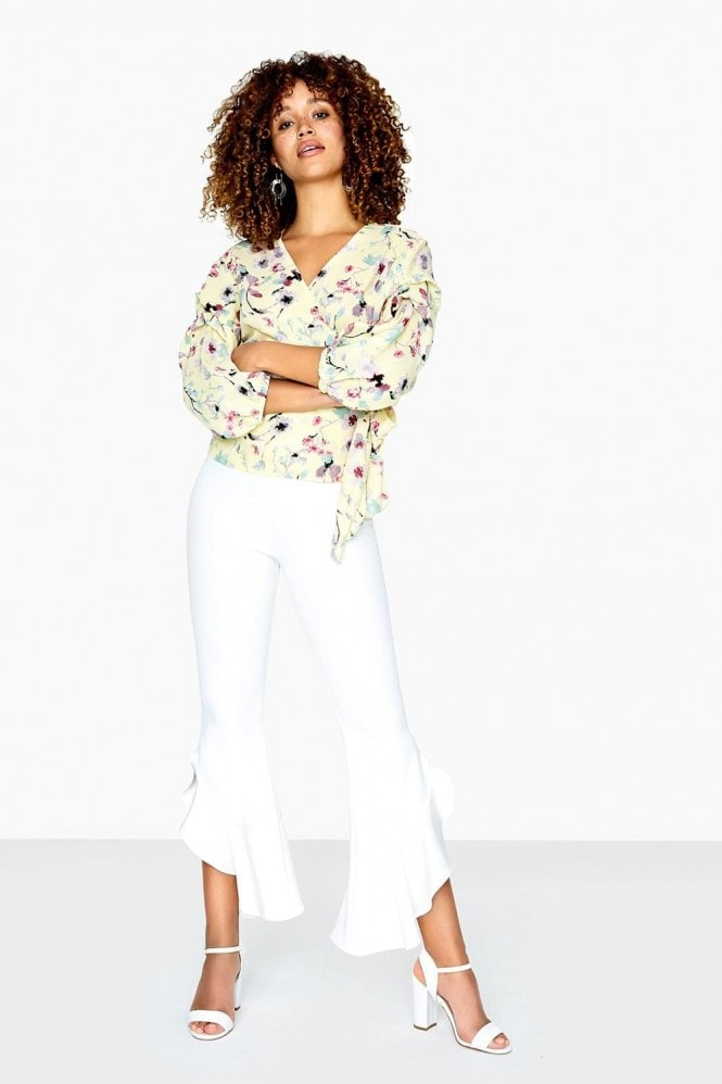 Girls on Film Romy Wrap Top In Floral Meadow