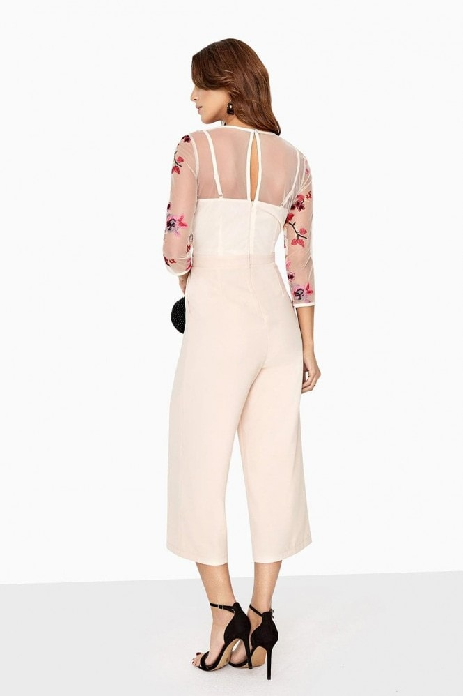 Little Mistress Harper Contrast Embroidered Jumpsuit