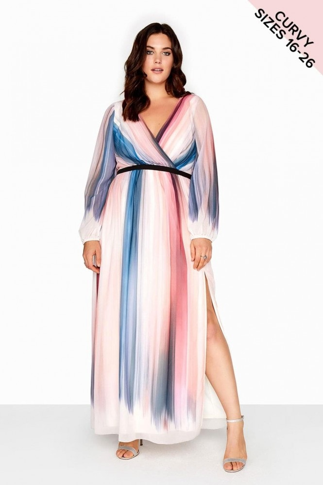 Little Mistress Curvy Stripe Chiffon Maxi Dress