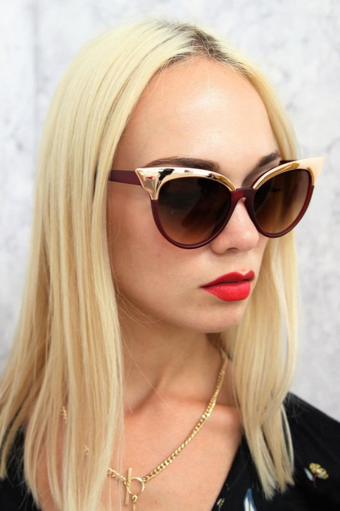Jourdan Cat Eye Sunglasses In Red