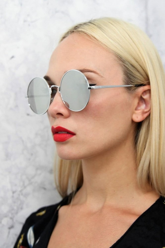 Alek Round Mirror Sunglasses In Silver