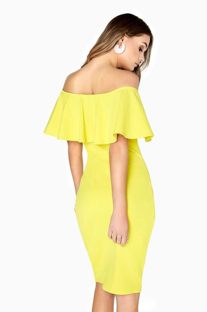 Girls on Film Lime Ruffle Bodycon