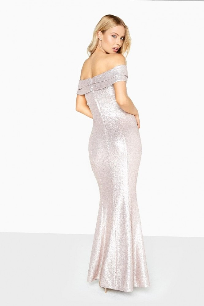 Elsie Glitter Bardot Maxi Dress