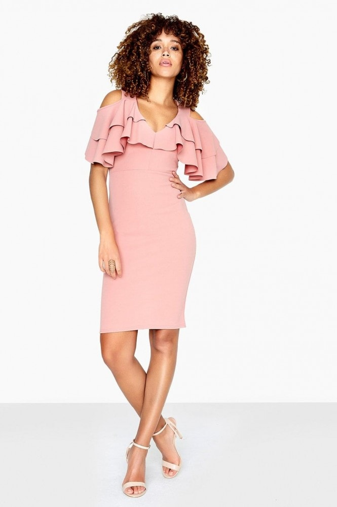Outlet Girls On Film Dean Cold Shoulder Dress With Overlay