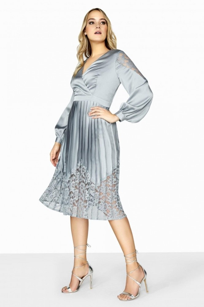 Little Mistress Curvy Cornflower Satin Wrap Midi