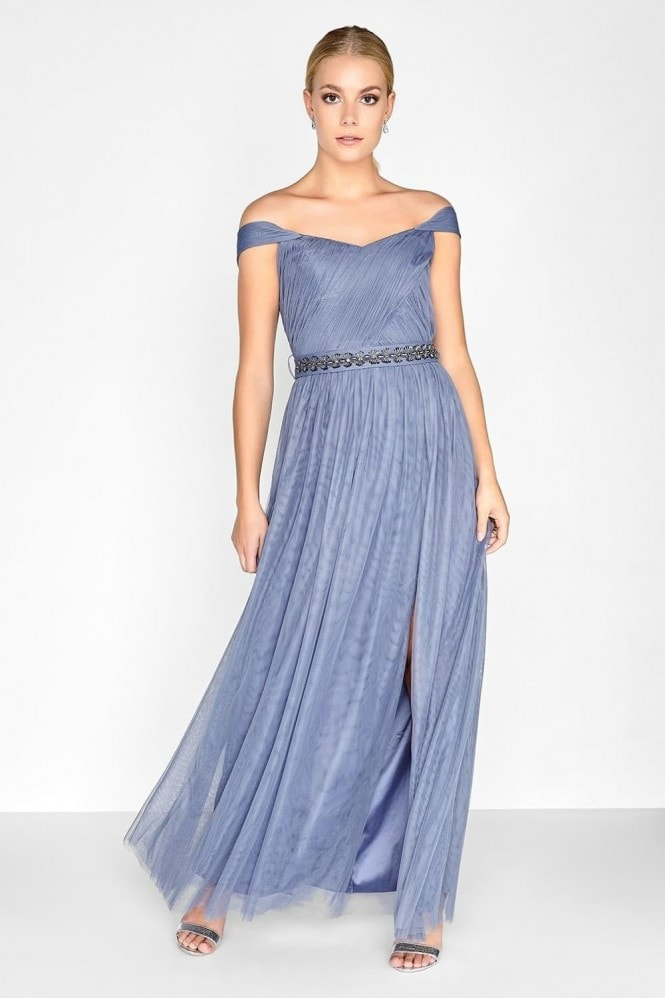 Little Mistress Lavender Grey Jewel Waist Maxi