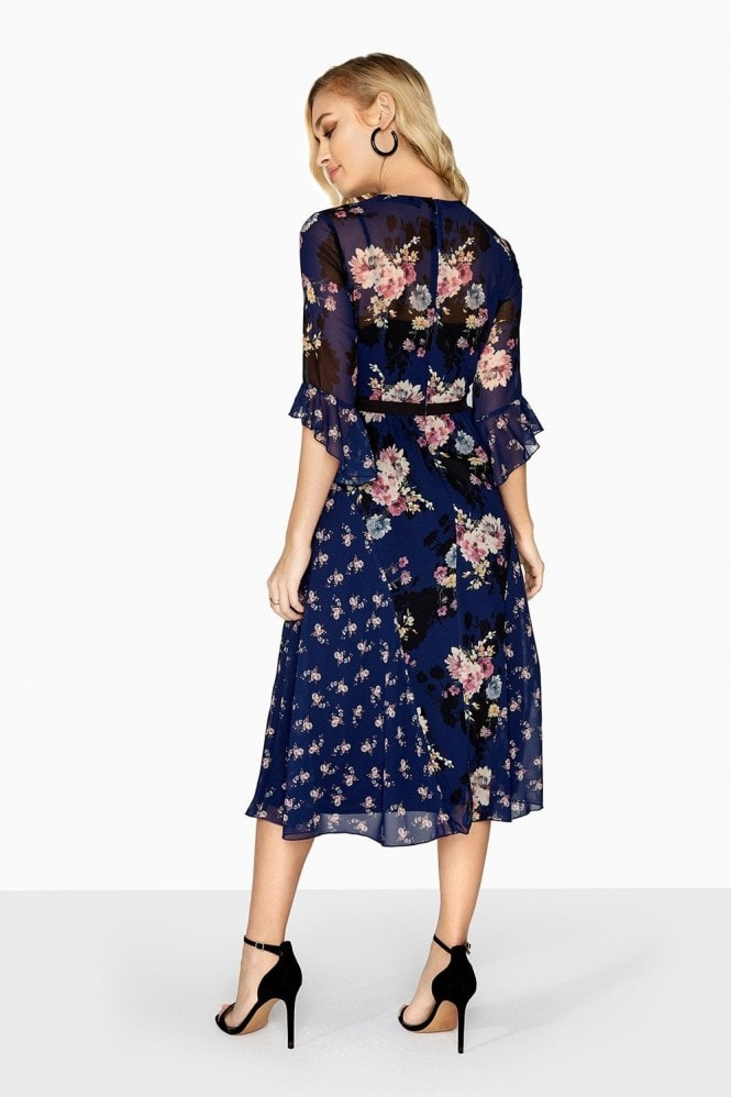 Amber Mixed Floral Midi Tea Dress