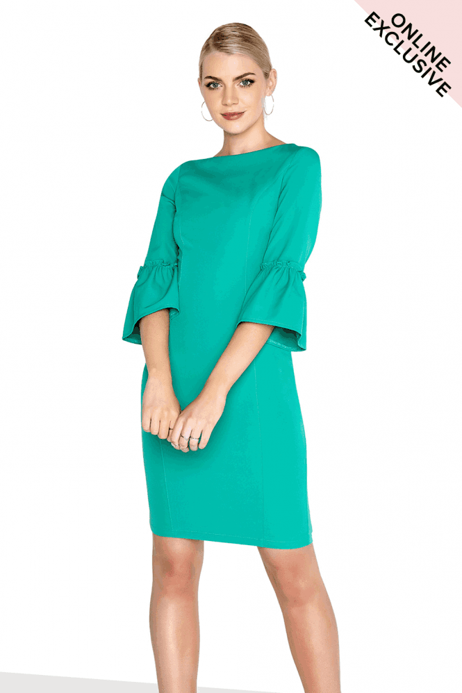 Outlet Paper Dolls Green Fluted Dress