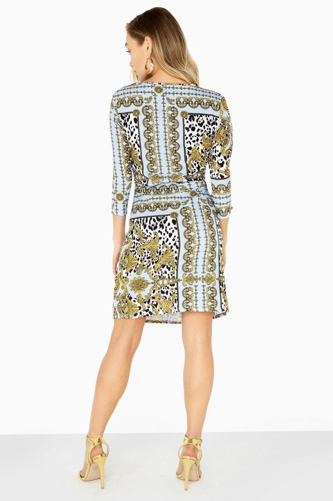 Girls on Film Parker Chain-Print Knot Waist Dress