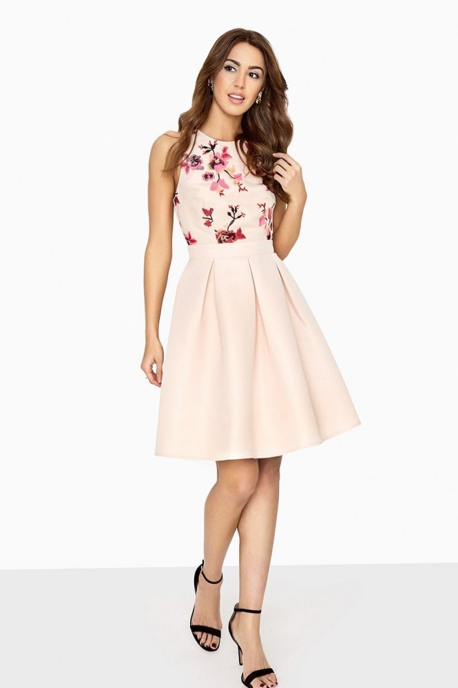 Little Mistress Harper Skater Dress With Contrast Embroidery