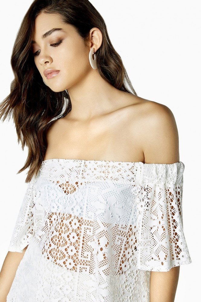 Outlet Girls On Film Marlin Lace Off The Shoulder Top