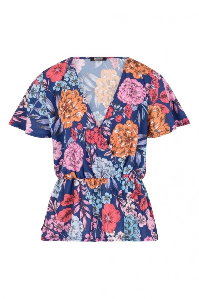 Girls on Film Jackson Mock Wrap Blouse In Bold Floral