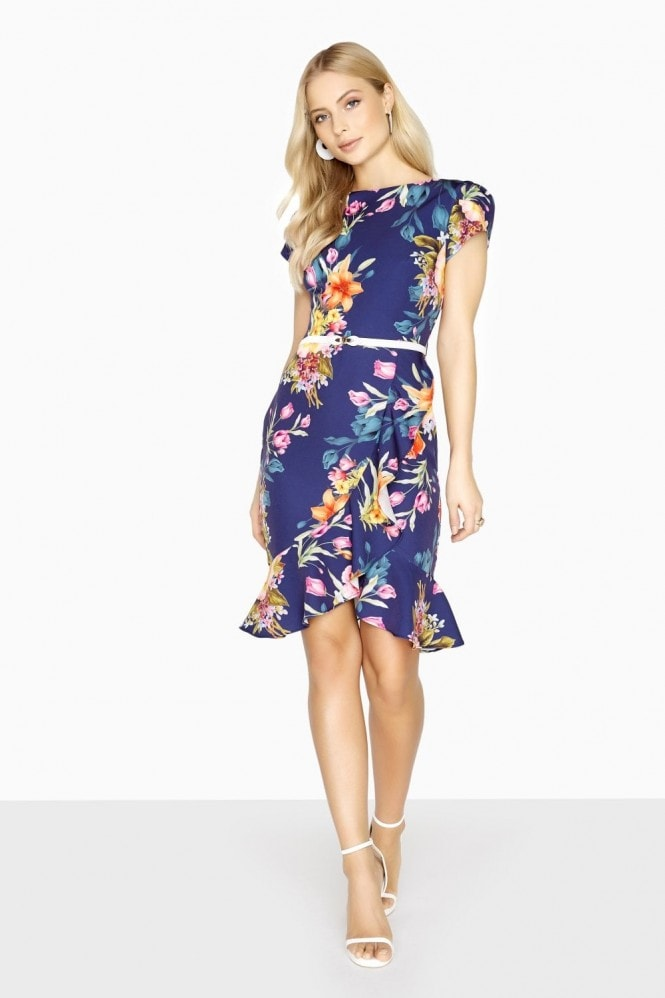 Paper Dolls Epernay Mock Wrap Dress With Frill Hem