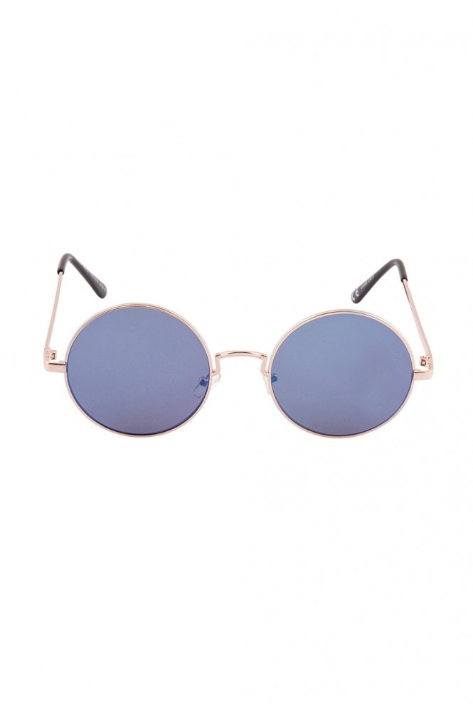 Alek Blue Round Mirror Sunglasses