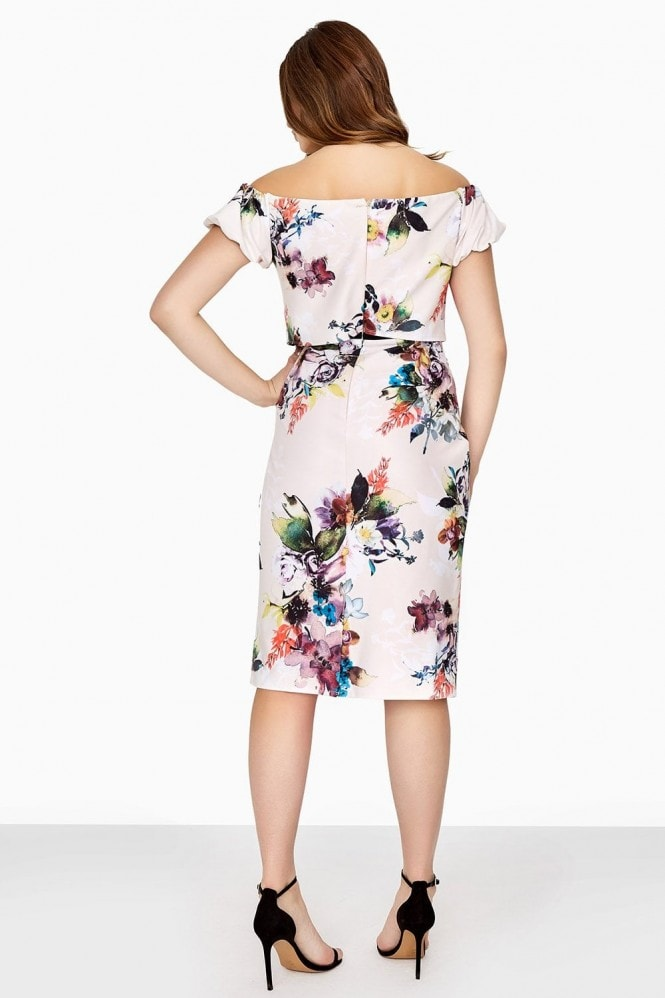 Little Mistress Curvy Floral Bodycon Dress