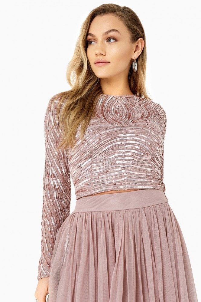 Little Mistress Emma Hand-Embellished Linear Sequin Top Co-Ord