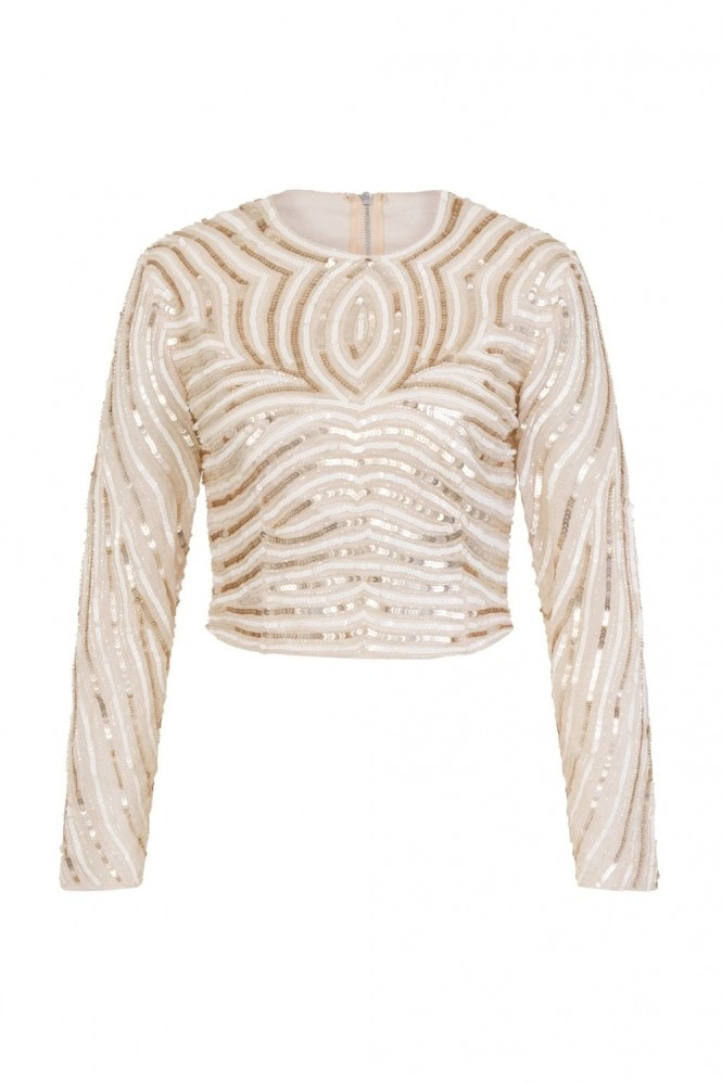 Little Mistress Luxury Emma Hand-Embellished Linear Sequin Top Co-Ord