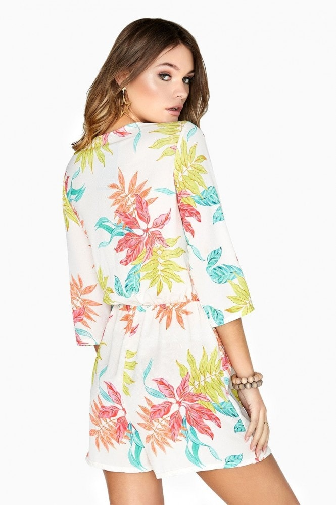 Girls on Film Disturbia Neon Palm Print Playsuit
