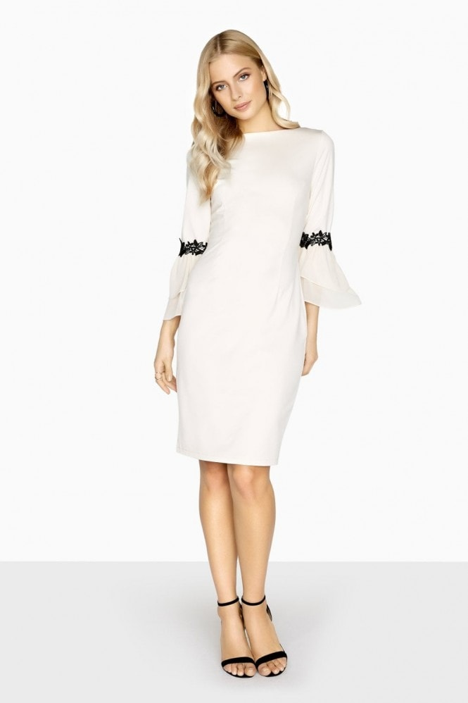 Paper Dolls Calais Lace Trim Dress With Fluted Sleeves