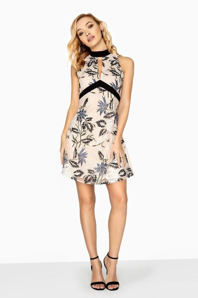 Little Mistress Luna Embroidered Shift Dress With Tie Back