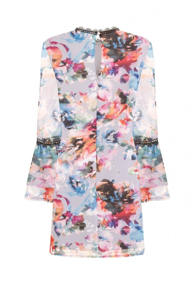 Little Mistress Abigail Floral Blur Shift Dress With Fluted Sleeves