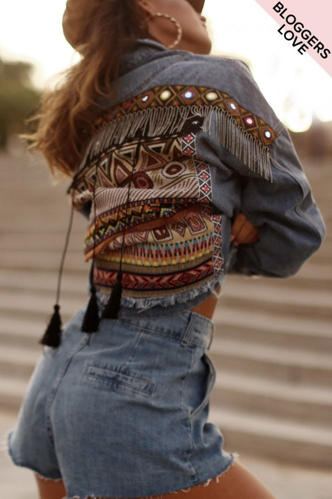 Girls on Film Tricky Aztec Denim Jacket