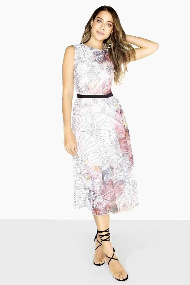 Little Mistress Abigail Line Print Midi Dress