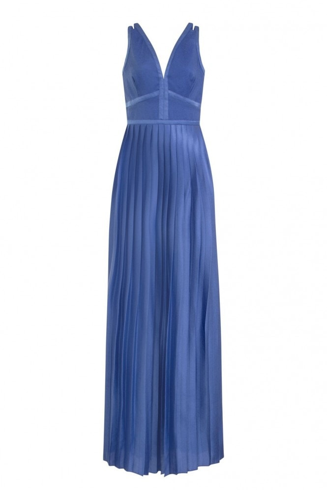 Little Mistress Emilia Panel Top Maxi Dress With Pleated Skirt