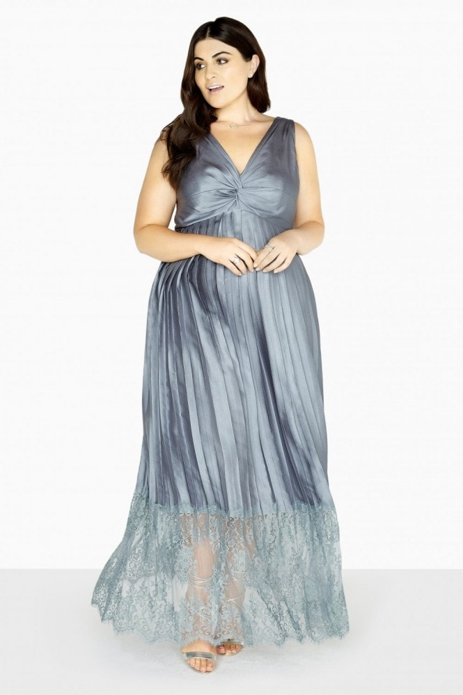 Little Mistress Curvy Maya Empire Maxi Dress With Lace Hem