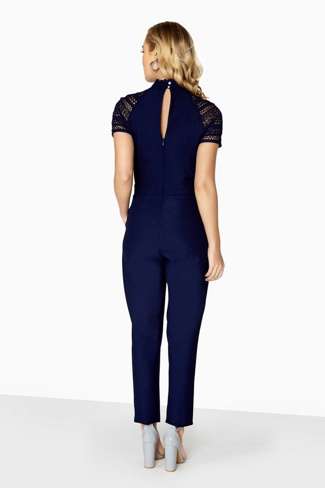 Little Mistress Georgia Mock Neck Jumpsuit With Lace Panels