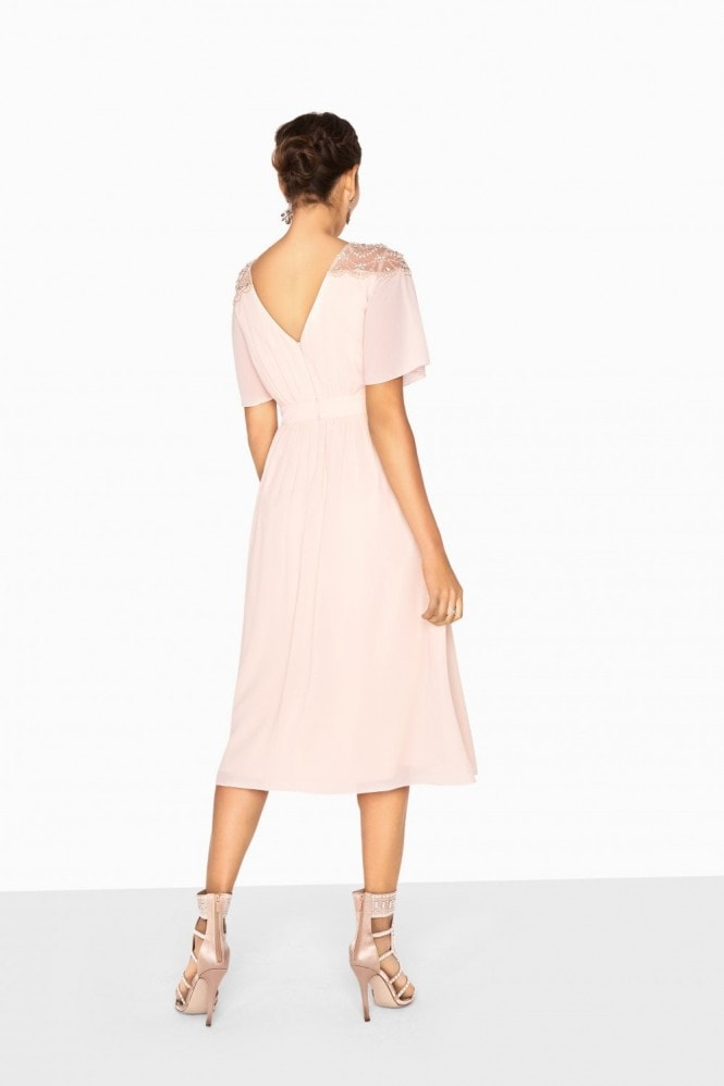 Little Mistress Lacey Angel Sleeve Midi Dress With Pearls