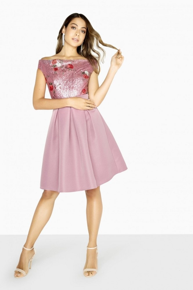 Little Mistress Lexi Embroidered Sequin Top Skater Dress