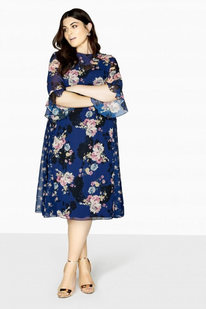 Little Mistress Curvy Amber Mixed Floral Tea Dress