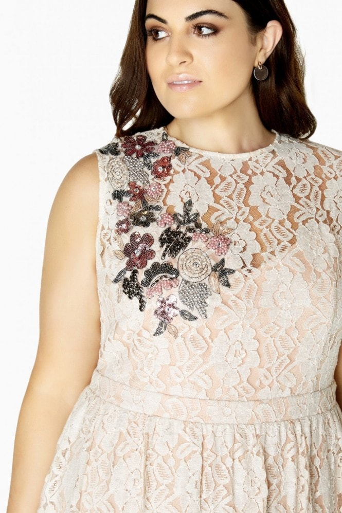 Little Mistress Curvy Cream Lace Prom