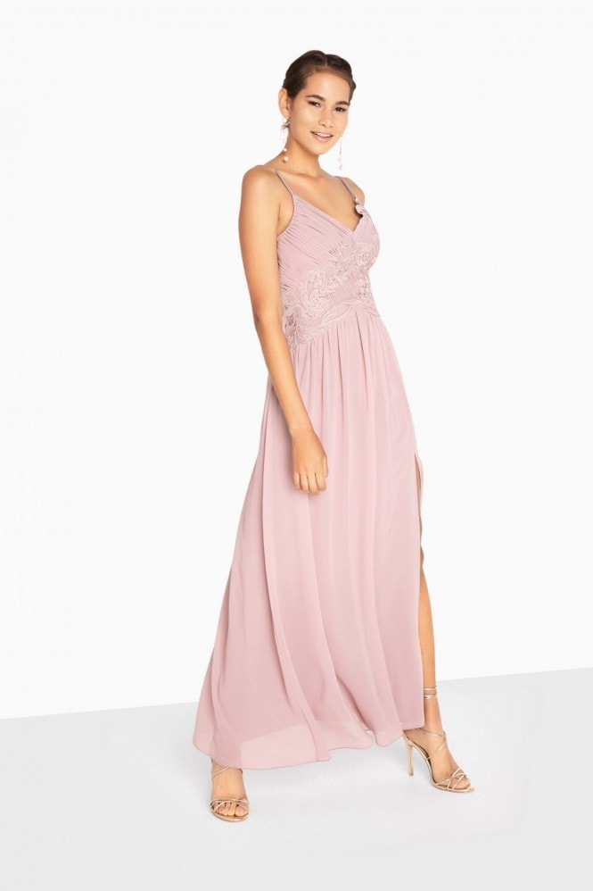 Fran Applique Lace Top Strappy Maxi Dress